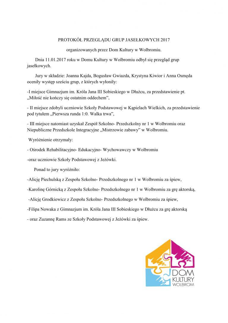 Protokół Przeglądu Grup Jasełkowych 2017