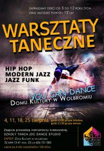 Warsztaty taneczne hip hop, modern jazz, jazz funk