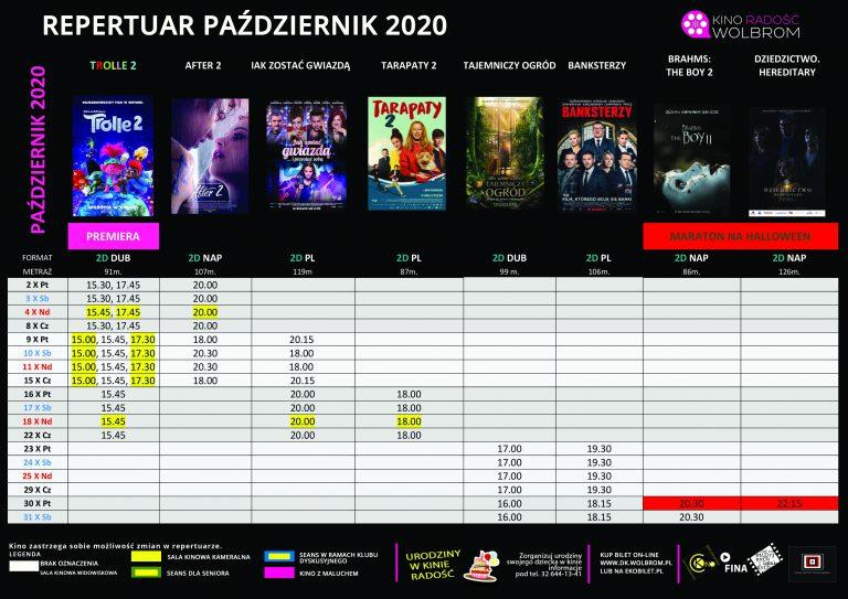 Repertuar na PAŹDZIERNIK 2020